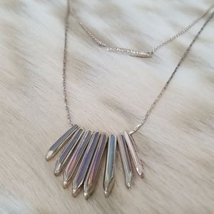 Stella & Dot Rebel Stone Cluster Necklace Silver
